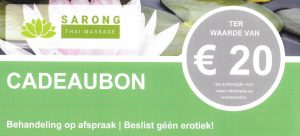 Sarong Thai Massage - Cadeaubon € 20 - voorzijde