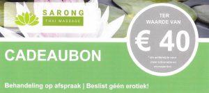 Sarong Thai Massage - Cadeaubon € 40 - voorzijde